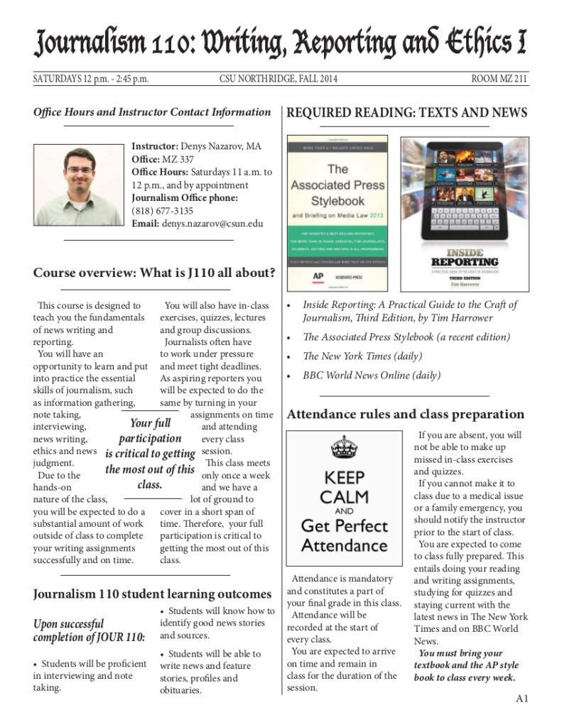 Syllabus infographic for introductory Journalism Course