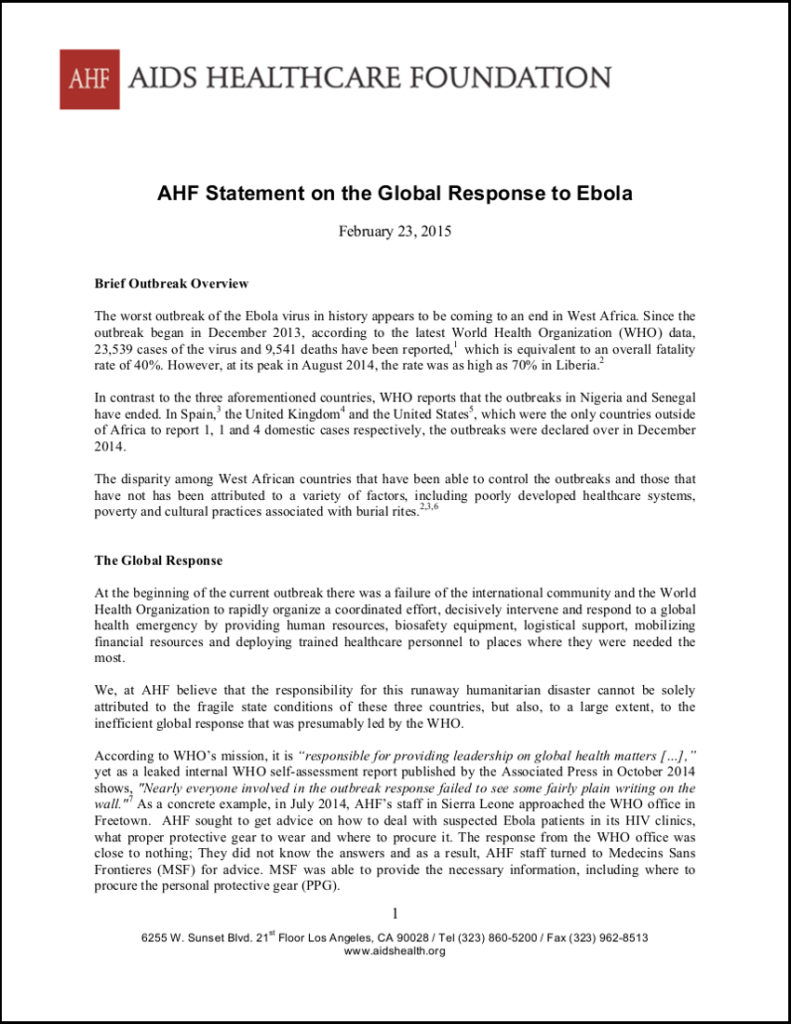 AHF Statement on the Global Response to Ebola