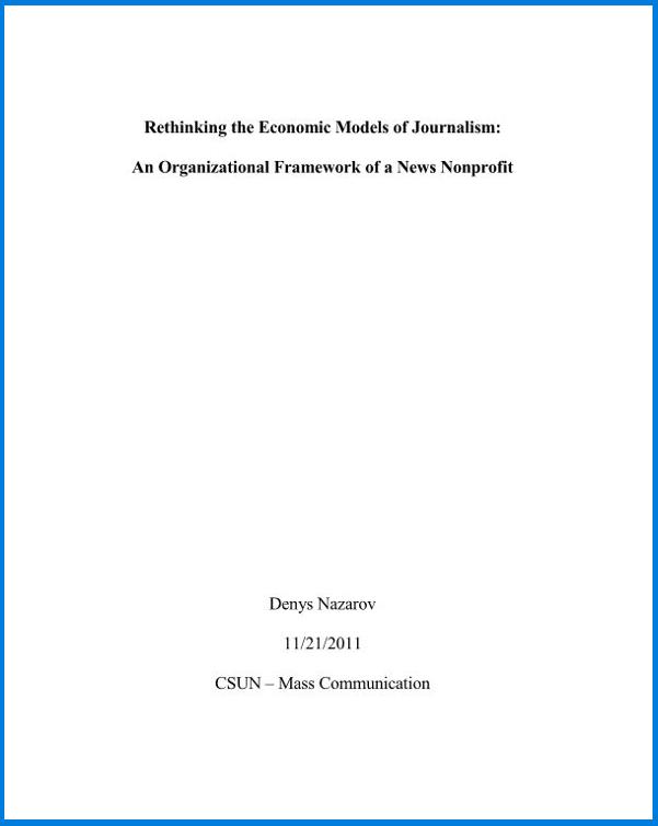 Rethinking the Economic Models of Journalism: An Organizational Framework of a News Nonprofit