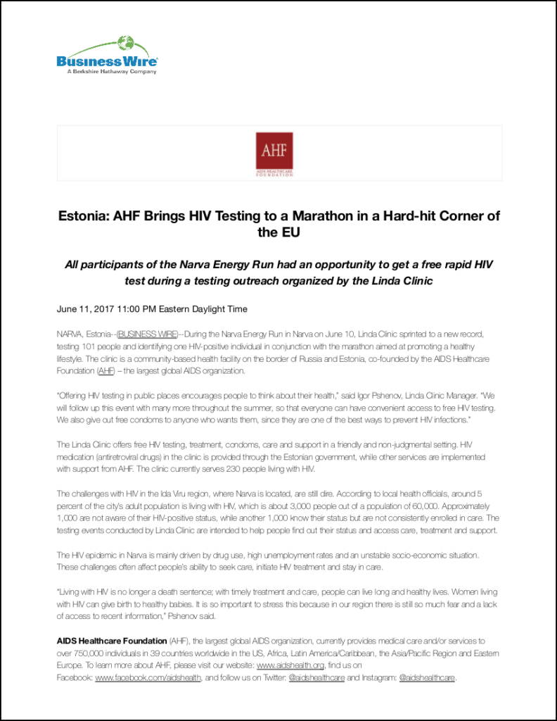 Business Wire Press Release: HIV Testing Campaign in Estonia