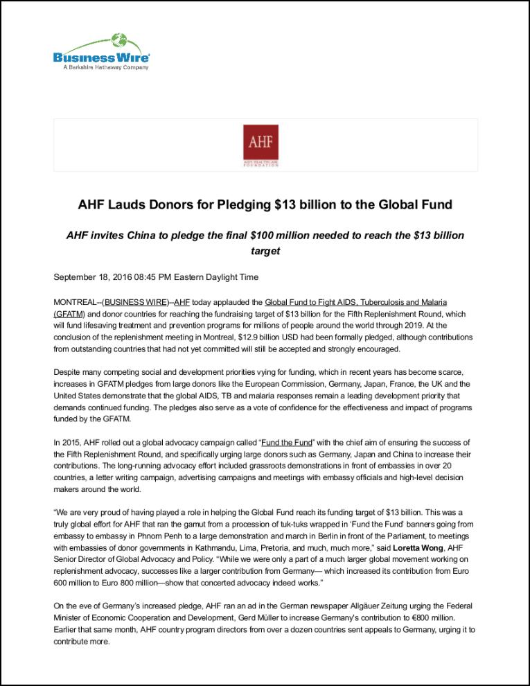 Business Wire Press Release: Global Fund Replenishment