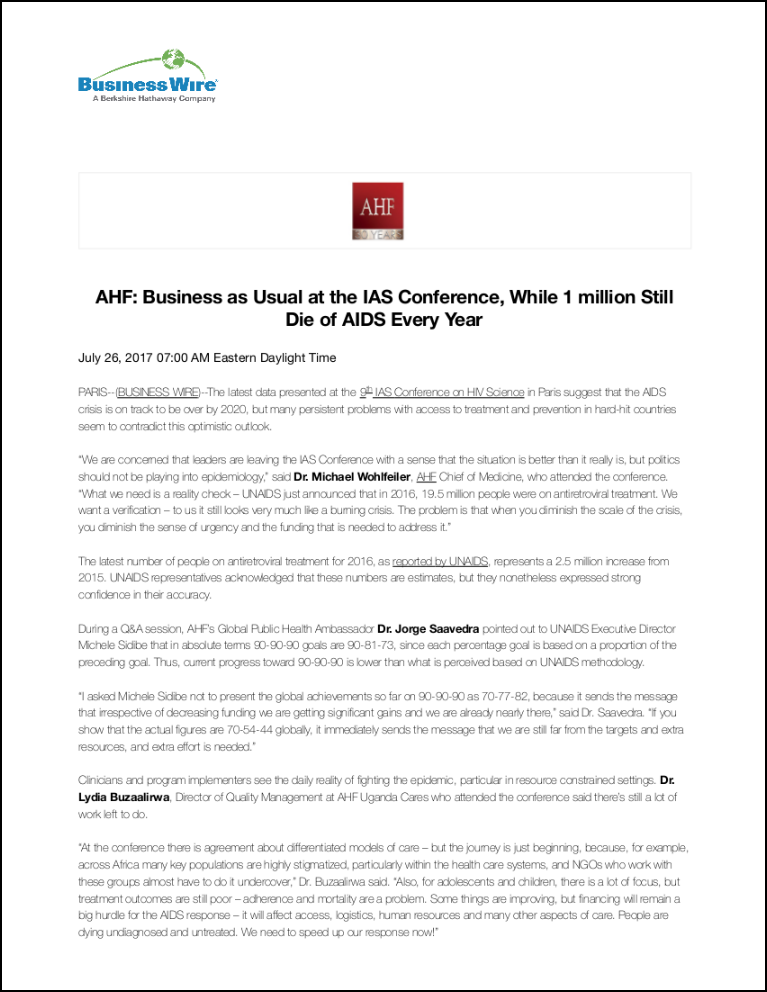 Business Wire Press Release: International AIDS Conference